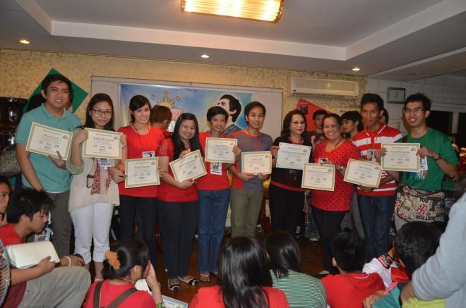 The Pinoy Archies Archu-Council. From left to right: Marion Garcia, Kath Falcesco, Aimee Evangelista, Karina Singh, Aurora Santos, Wilson Eraldo, Tita Bess de Guia, Tita Ester delos Reyes, Romel Tribiana, & Ronald Boling Ruiz.